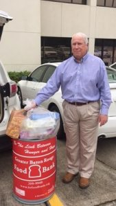 Business Manager Jeff collects donations