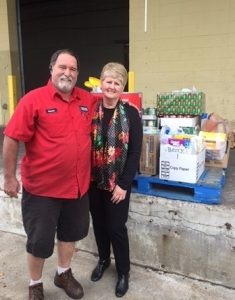 Owner Marianne and GBR Food Bank Employee Kelvin